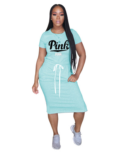 Blue Classic letter PINK tie dress