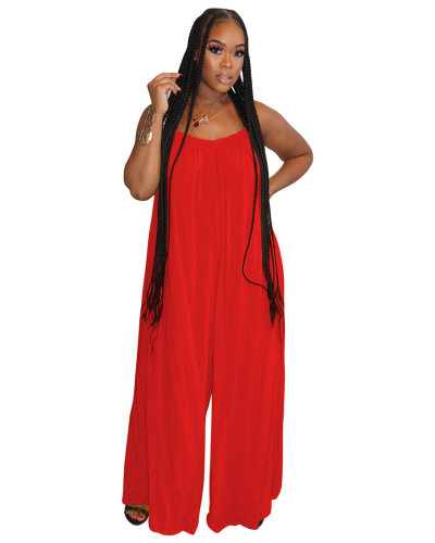Red Fashion sexy suspenders solid color wide-leg jumpsuit