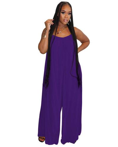 Purple Fashion sexy suspenders solid color wide-leg jumpsuit