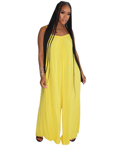 Yellow Fashion sexy suspenders solid color wide-leg jumpsuit