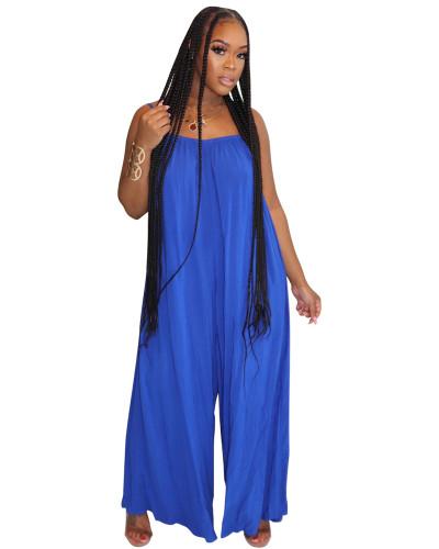 Blue Fashion sexy suspenders solid color wide-leg jumpsuit