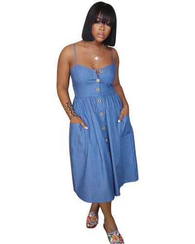 Casual strapless denim skirt