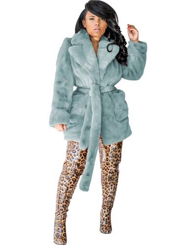 Silver sexy fashion fur multicolor rabbit fur coat