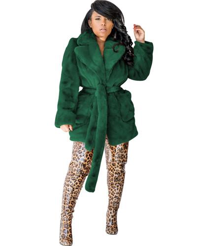 Green sexy fashion fur multicolor rabbit fur coat