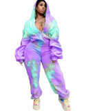Violet Tie-dye printed padded guard hood sports two-piece suit