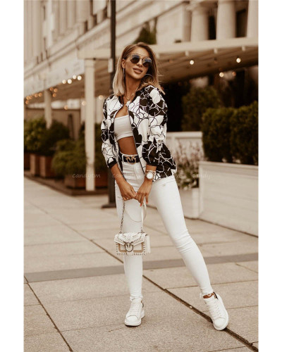 Autumn and winter slim long-sleeved printed short jacket small coat women's clothing