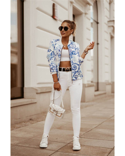Light bule Autumn and winter slim long-sleeved printed short jacket small coat women's clothing