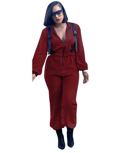 Claret Urban casual fashion zipper jumpsuit