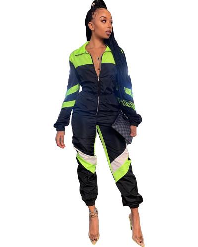 Black Stitching solid color V-neck long-sleeved jumpsuit