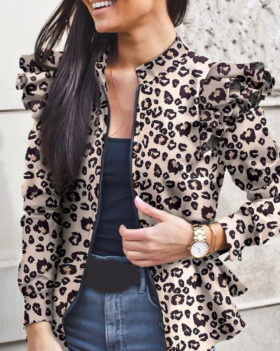 Autumn and winter long-sleeved ruffled stitching zipper print small coat
