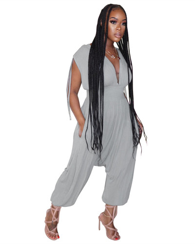 Gray Solid color waist deep V loose jumpsuit