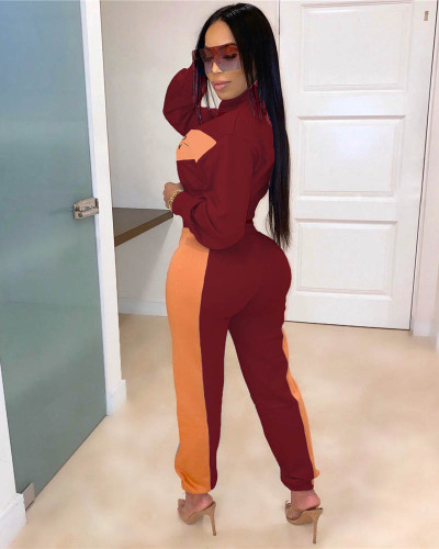 Claret Fashion casual women's letter stitching two-piece suit