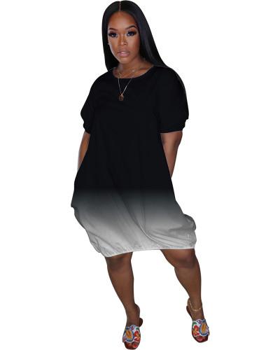 Black Classic casual gradient solid color dress