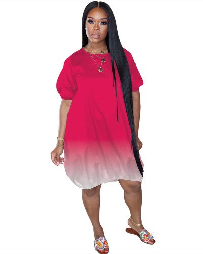 Red Classic casual gradient solid color dress