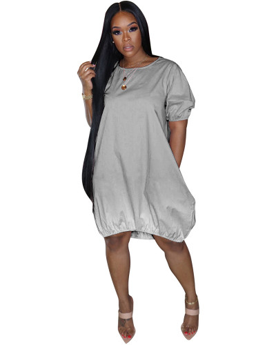 Gray Classic casual gradient solid color dress