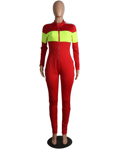 Red Fashion sports style deep V multicolor jumpsuit