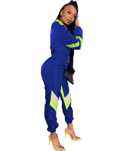 Blue Stitching solid color V-neck long-sleeved jumpsuit