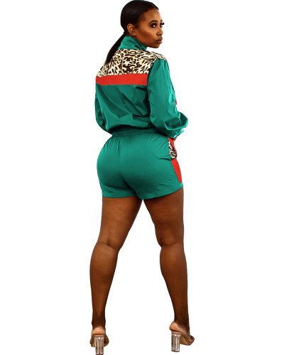 Green Sexy leopard print contrast stitching sports two-piece suit