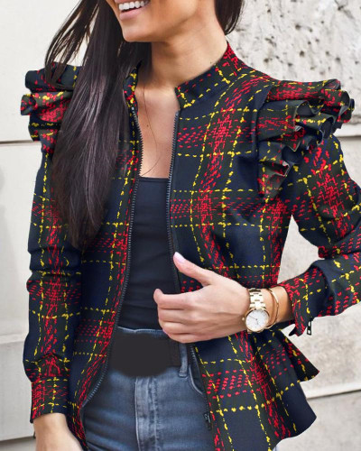 Red Autumn and winter long-sleeved ruffled stitching zipper print small coat