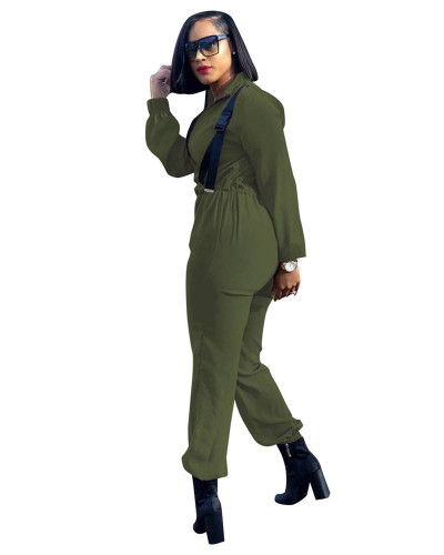 Army green Urban casual fashion zipper jumpsuit