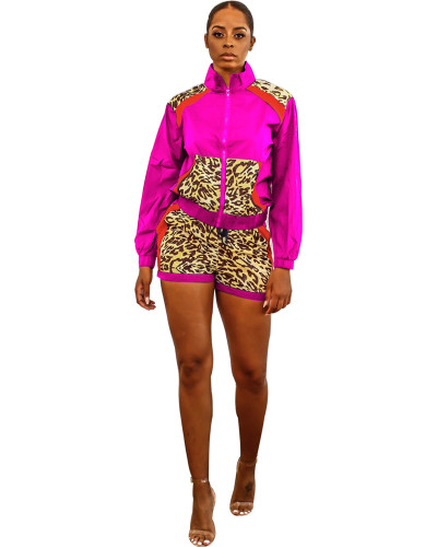 Red Sexy leopard print contrast stitching sports two-piece suit