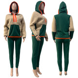 Fashion casual lamb wool sweater two-piece sports suit