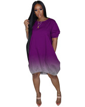 Purple Classic casual gradient solid color dress