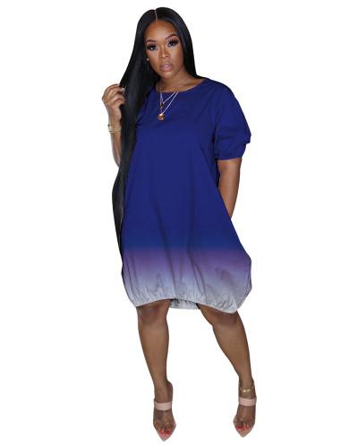 Blue Classic casual gradient solid color dress