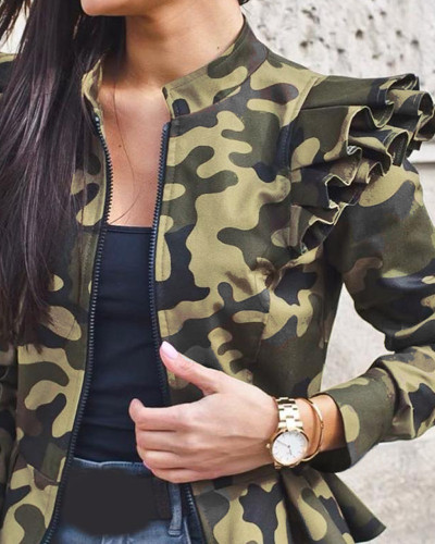 Camouflage Autumn and winter long-sleeved ruffled stitching zipper print small coat