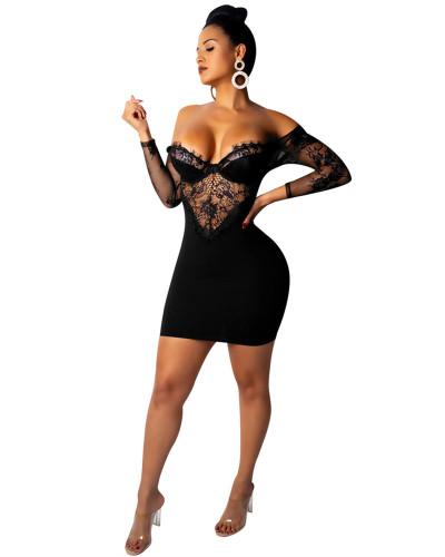 Black Sexy lace strapless hip dress