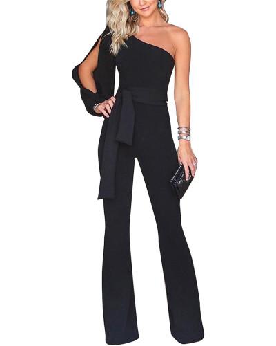 Black Classic solid color sloping shoulder jumpsuit