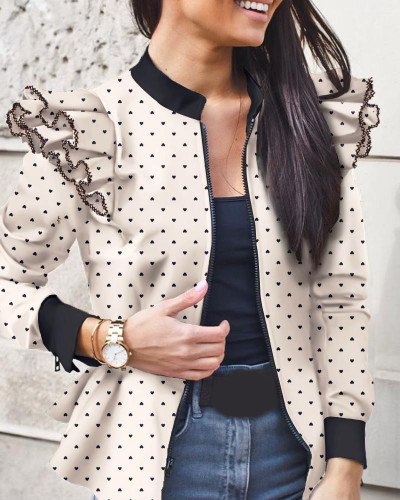 White Autumn and winter long-sleeved ruffled stitching zipper print small coat