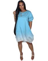 Light Blue Classic casual gradient solid color dress