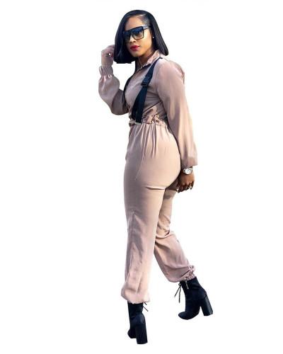 Color Urban casual fashion zipper jumpsuit
