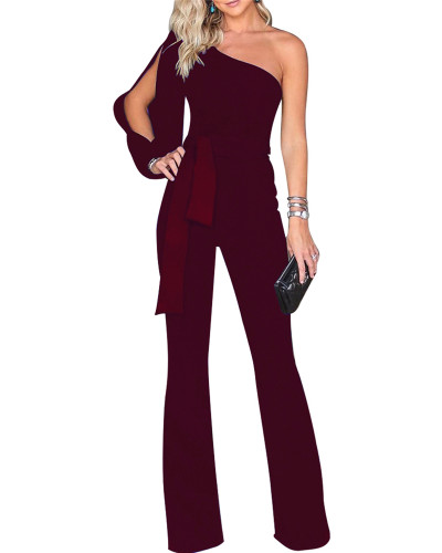 Red Classic solid color sloping shoulder jumpsuit