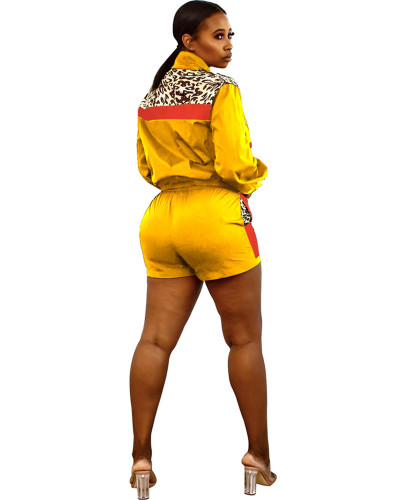 Yellow Sexy leopard print contrast stitching sports two-piece suit