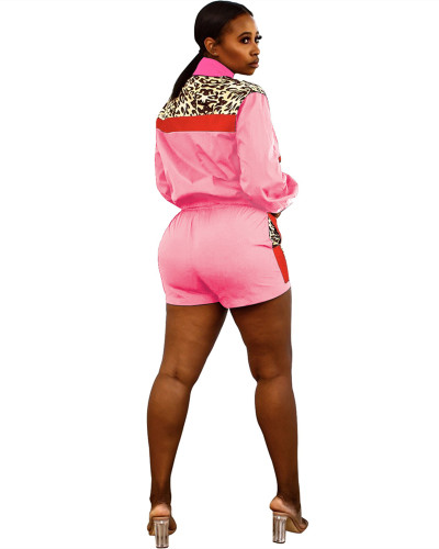 Pink Sexy leopard print contrast stitching sports two-piece suit
