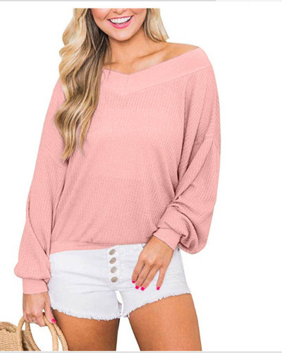 Pink V-neck loose waffle long-sleeved T-shirt top sweater