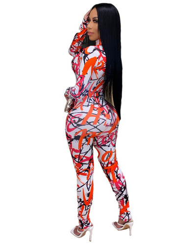 Orange Printed stretch zipper slim fit jumpsuit