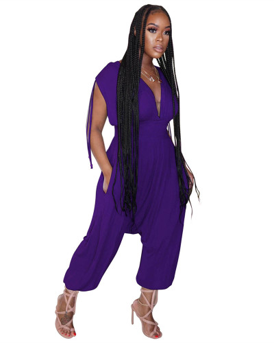 Purple Solid color waist deep V loose jumpsuit