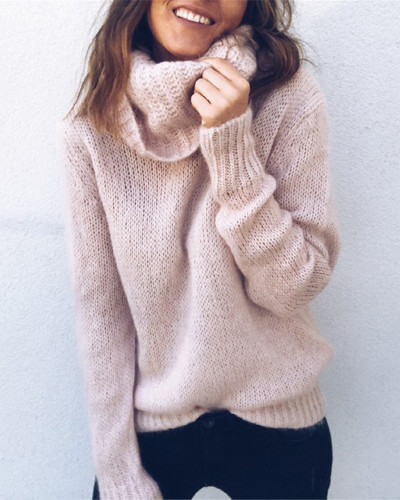 Pink Solid color long sleeve high neck pullover sweater