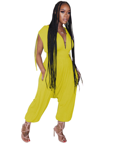 Yellow Solid color waist deep V loose jumpsuit