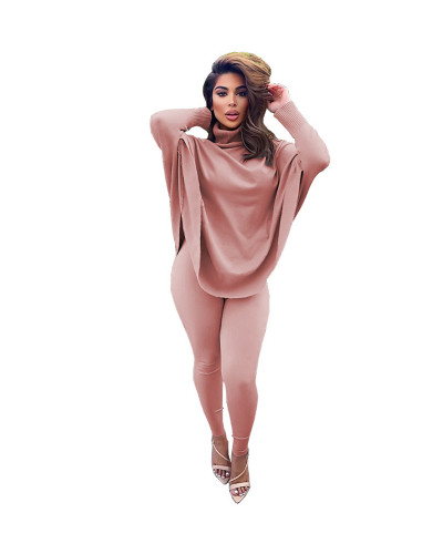 Pink Solid color bat sleeve suit large size two-piece suit