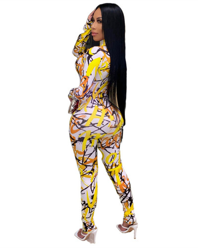 Yellow Printed stretch zipper slim fit jumpsuit