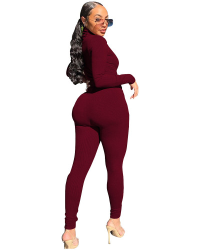 Red Two-piece casual high-neck ribbed homewear suit