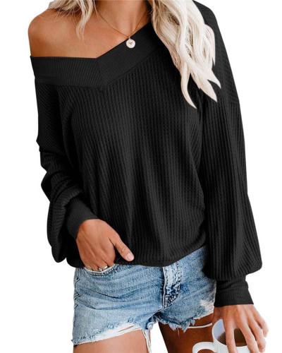 Black V-neck loose waffle long-sleeved T-shirt top sweater