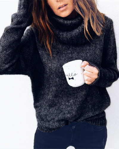 Black Solid color long sleeve high neck pullover sweater