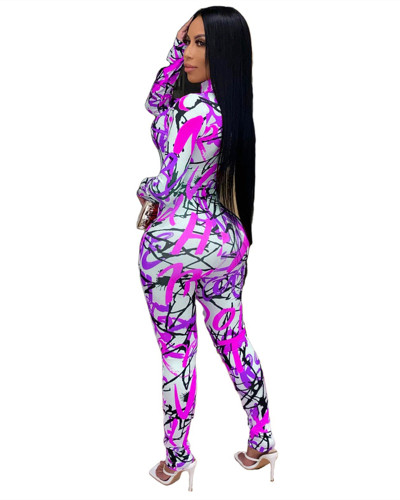Purple Printed stretch zipper slim fit jumpsuit
