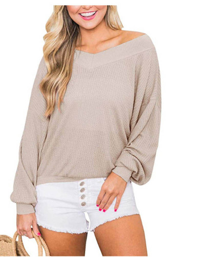 V-neck loose waffle long-sleeved T-shirt top sweater