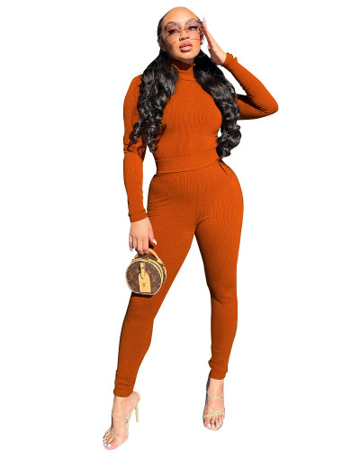 Orange Two-piece casual high-neck ribbed homewear suit